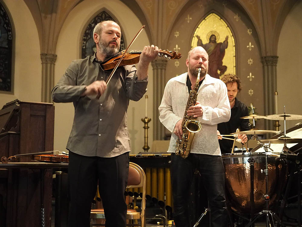 Nils Økland Band at St. John Cathedral, Big Ears 2017 (photo: Gary Heatherly)
